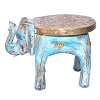 Handmade Decor Craft Indian Elephant Brass Fitted Antique Wooden Stool