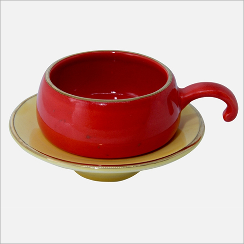 100 ml Red Coffee Cup with Saucer