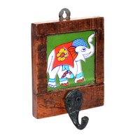 Indian Handmade Single Elephant Printed Tile Wooden Wall Hook