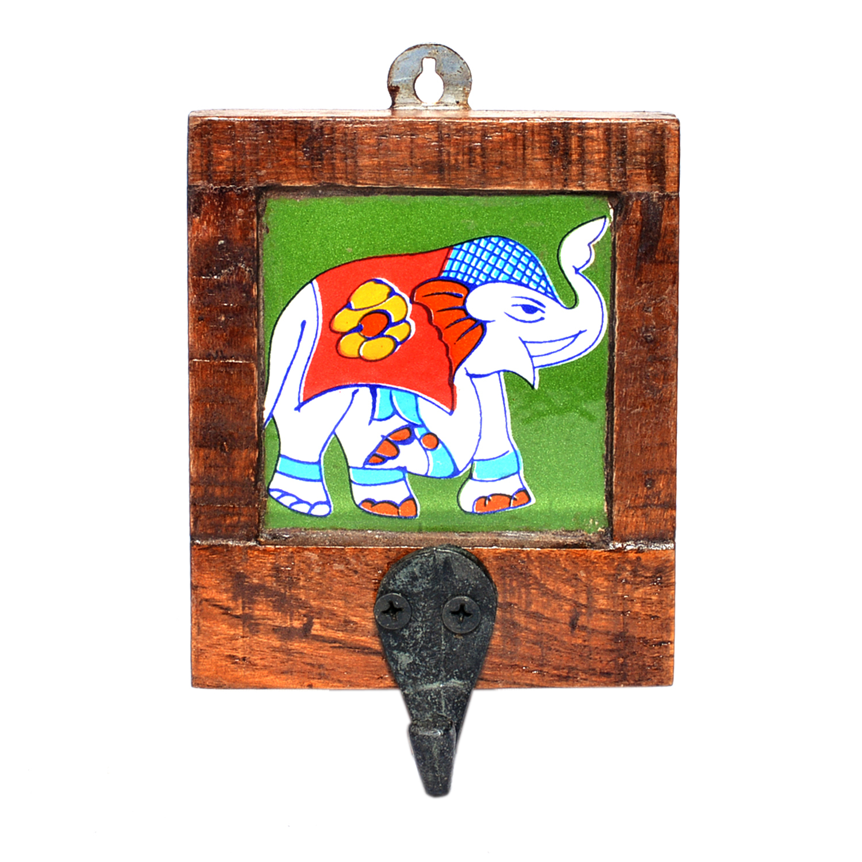 Indian Handmade Single Elephant Printed Tile Wooden Wall Hook