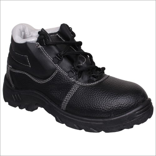 Mens Black Safety Ankle Shoes