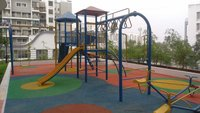 Rubber flooring with play equipments