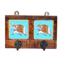 Indian Handmade Double Elephant Print Tile Wooden Wall Hook