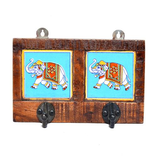 Indian Handmade Double Elephant Print Tile Wooden Wall Hook
