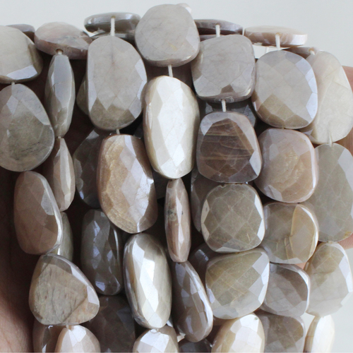 Moonstone Flat Coated Beads