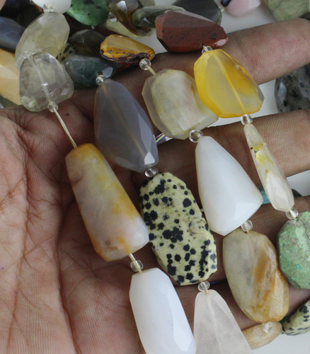 Mix Stone Flat Nugget Beads