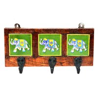 Indian Home Decor 3 Hook Elephant Printed Tile Wooden Wall Door Hanging