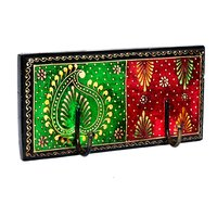 Indian Vintage Home Decorative Painted Wooden Wall Hooks Door Hanging