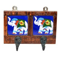 Handmade Elephant Printed 2 Tile Wooden Wall Hook Door Hanging