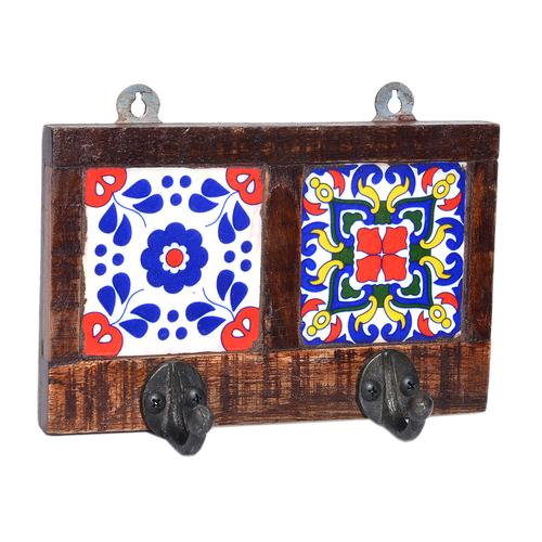 Decorative Flower Printed 2 Tile Wooden Wall Hook Door Hanging