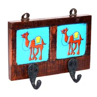 Home Decor Handmade Camel Printed Two Ceramic Tile Wooden Wall Door Hanging