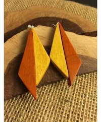 Wooden And Metal Brass Earring