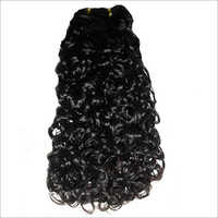 Curly Doubnle Drawn Machine Wefted Hair Extensions