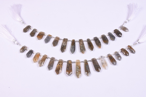 Black Sunstone Triangle Beads