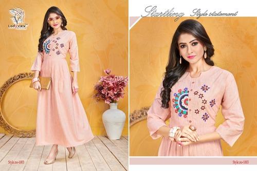 Designer Peach Cotton Gown Style Kurti