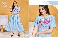 Designer Sky Cotton Gown Style Kurti