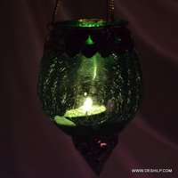Creak Glass Green Color Hanging Votive