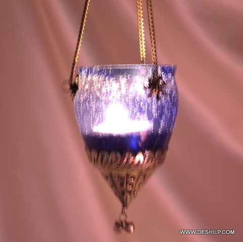 Creak Purple Glass T Light Hanging