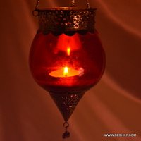 Red Glass T Light Hanging Candle