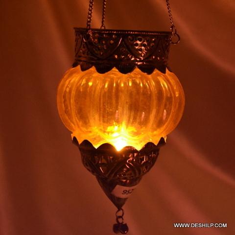 Metal Fitting Glass T Light Hanging