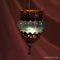 Antique Glass T Light Candle Hanging