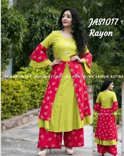 designer rayon kurti with palazzo