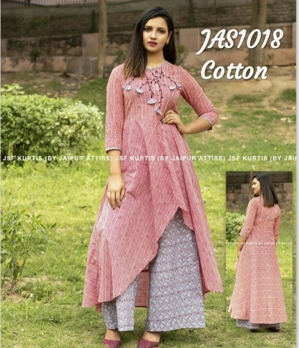 designer embroidered cotton kurti with palazzo