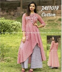 designer embroidered cotton kurti with palazzo