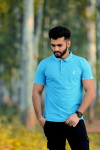 Mens Blue Color Designer Polo T-Shirt