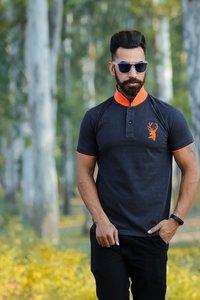 Mens Blue Color Designer Polo T-Shirt
