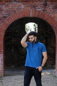 Mens Pink Collar Polo T Shirt