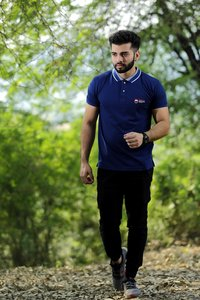 Mens Jacquard Polo T Shirt