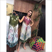 Tie Dye Green White Umbrella Dress