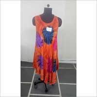 Tie Dye Umbrella Orange Dress