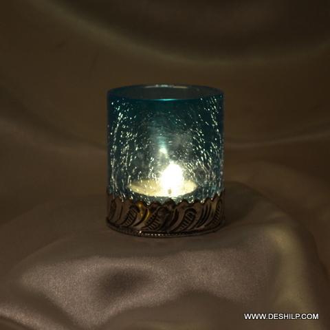 Metal Fit Glass T Light Votive Candle