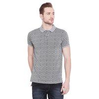 Mens Round Neck Jacquard Polo T-Shirt