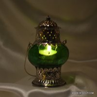 Green Glass T Light Candle