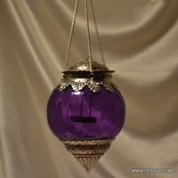 Purple Glass T Light Candle Hanging