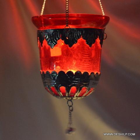 Orange Color Metal Fitting Candle Votive