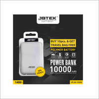 10000 mAh White Power Bank