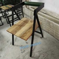 IRON WOODEN TOP CAFE CHAIR