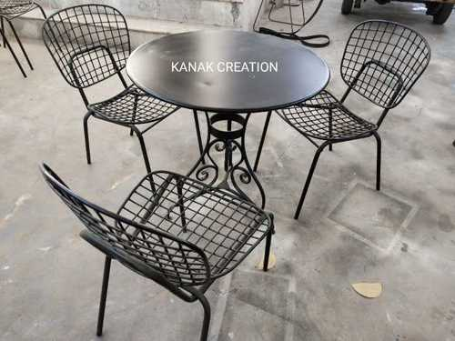 IRON ROUND TABLE AND CHAIRS DINNING SET