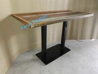 Dining table with wooden top and sandblast leg