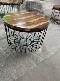 IRON + WOODEN TOP COFFEE TABLE
