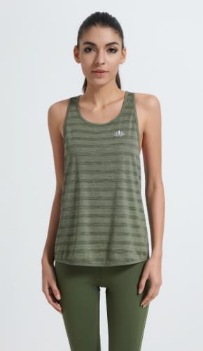 2018 Custom Hot Sale Scoop Neck Stripe V Back Large Armhole Sleeveless Tank Top for Women