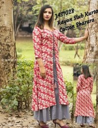 printed rayon kurti with cotton sharara