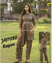 printed rayon kurti with palazzo