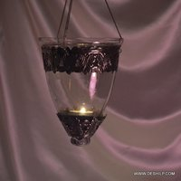 Clear Glass Metal Fitting T Light Candle Hanging