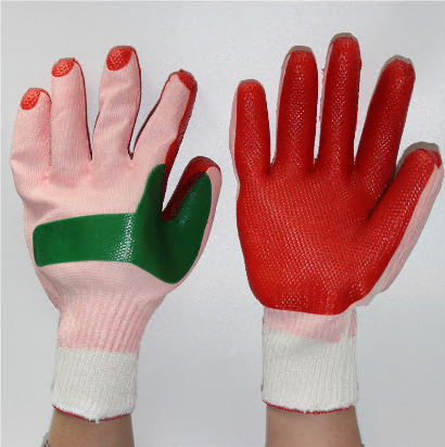 Double slice back palm piece natural rubber laminated coat work glove