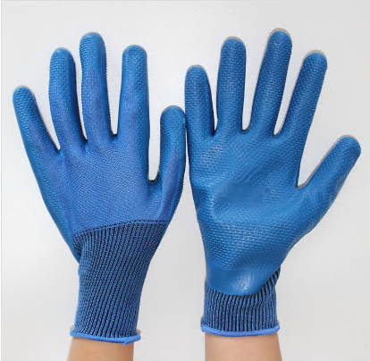 13gauge Polyester/nylon Latex Coated Embossing on Palm Working Gloves